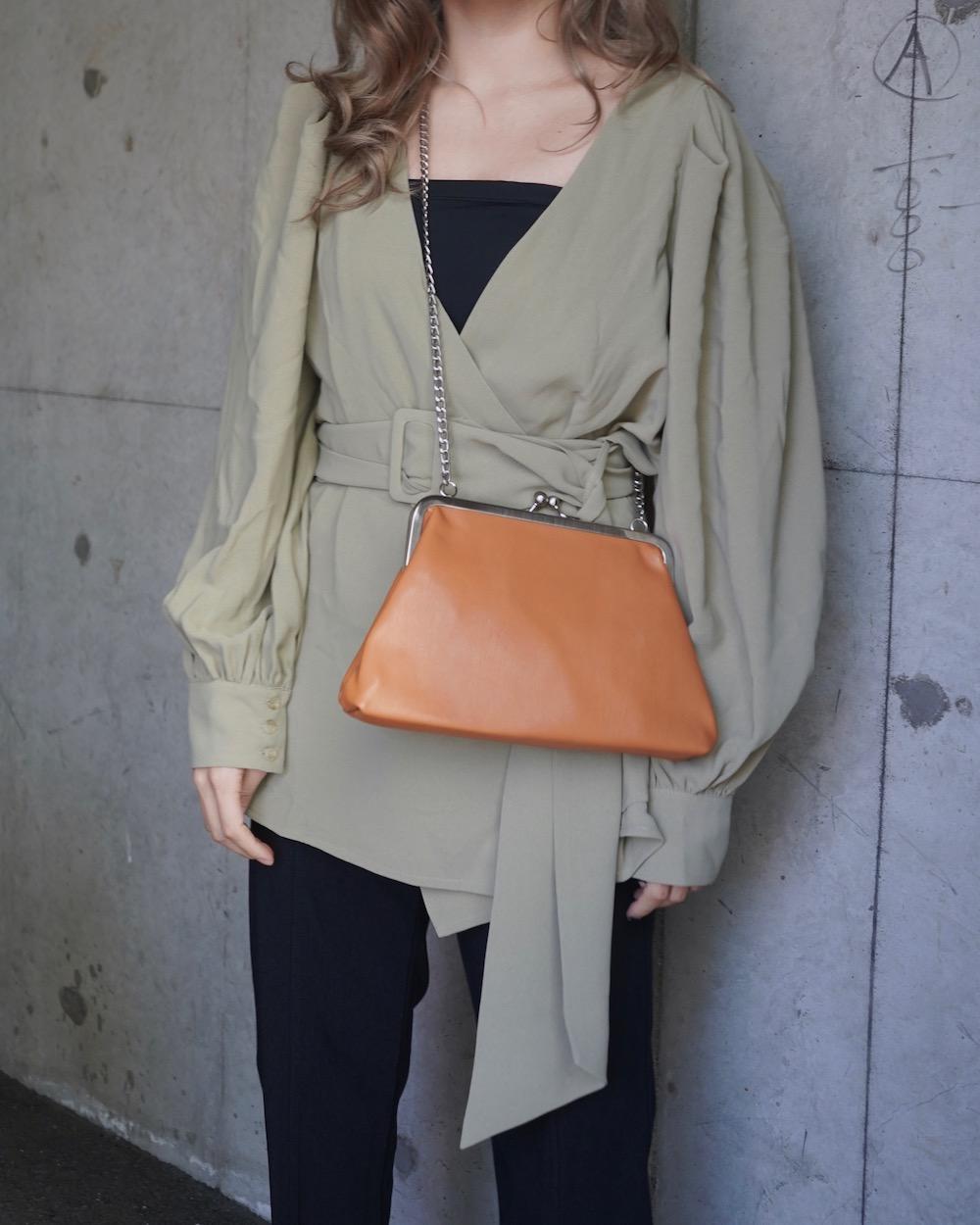 Silver Chain Purse Frame Shoulder Bag(camel)