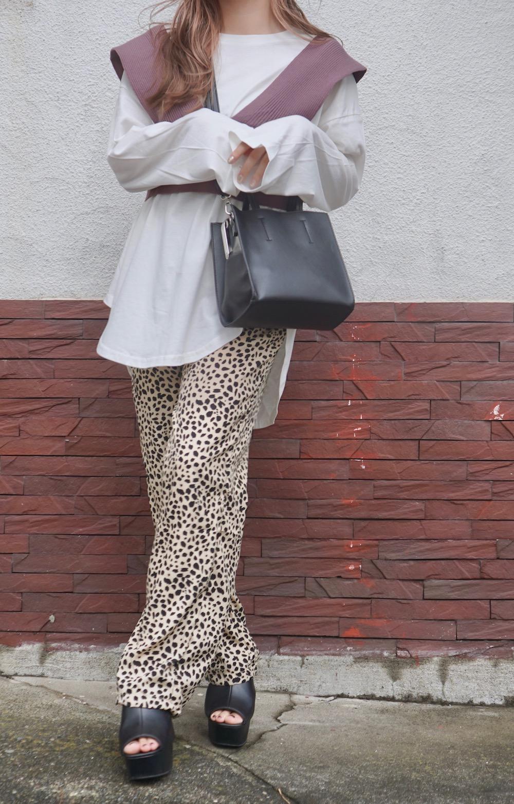 Leopard Semi-wide Easy Pants (beige)