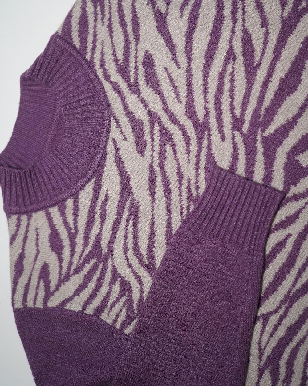 Zebra Pattern Mock Neck Knit Sweater (purple)