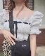 Velvet Ribbon Cotton Puffsleeve Tops (white)