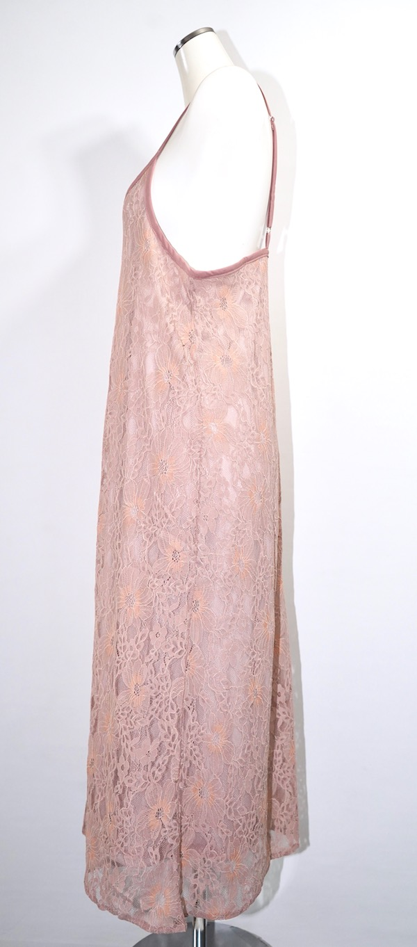 All Lace Flare Cami-Onepiece (pink beige)
