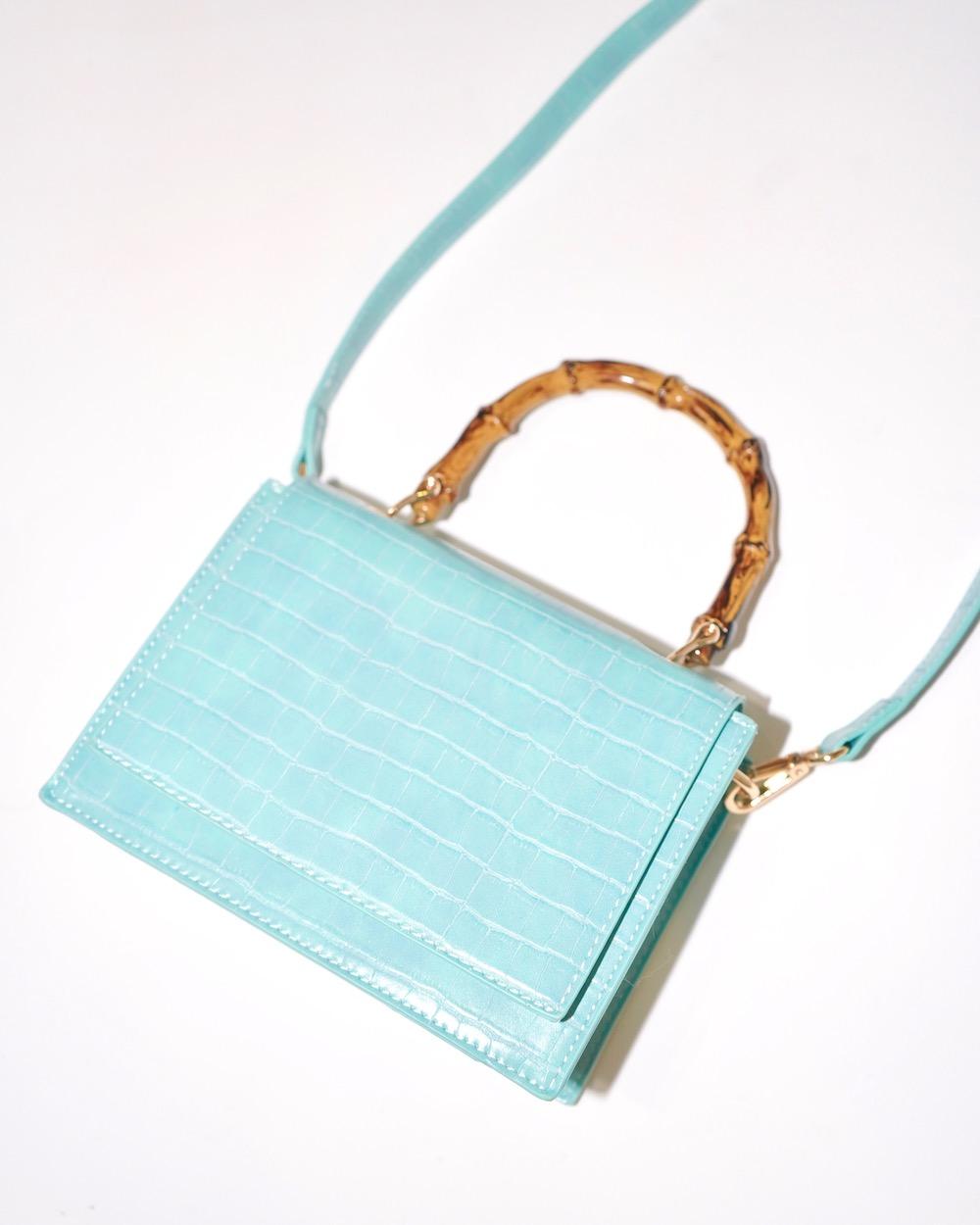 Bamboo Handle Crocodile Touch 2way Bag (light blue)