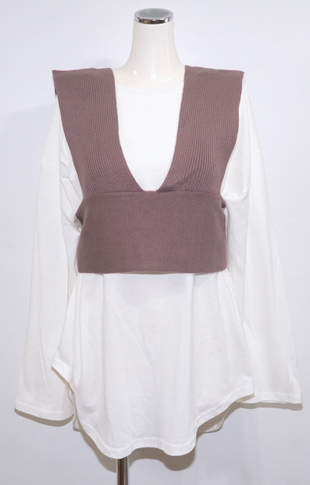 Back Lace Up Bustier+L/S T-shirts 2P SET (duty purple)