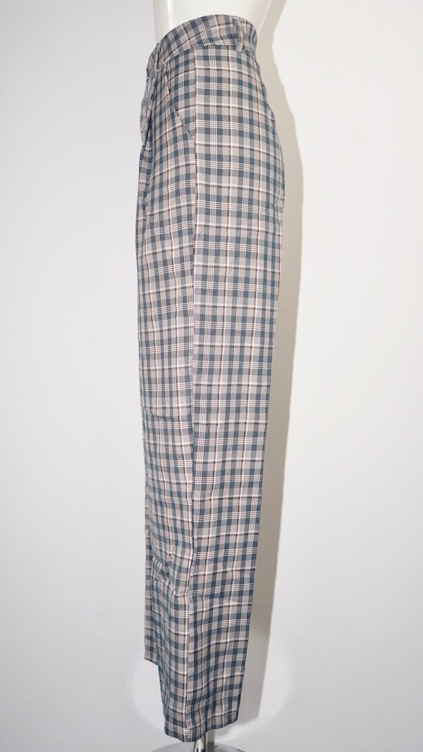 Checked Tuck Wide Slacks (Ash Beige)