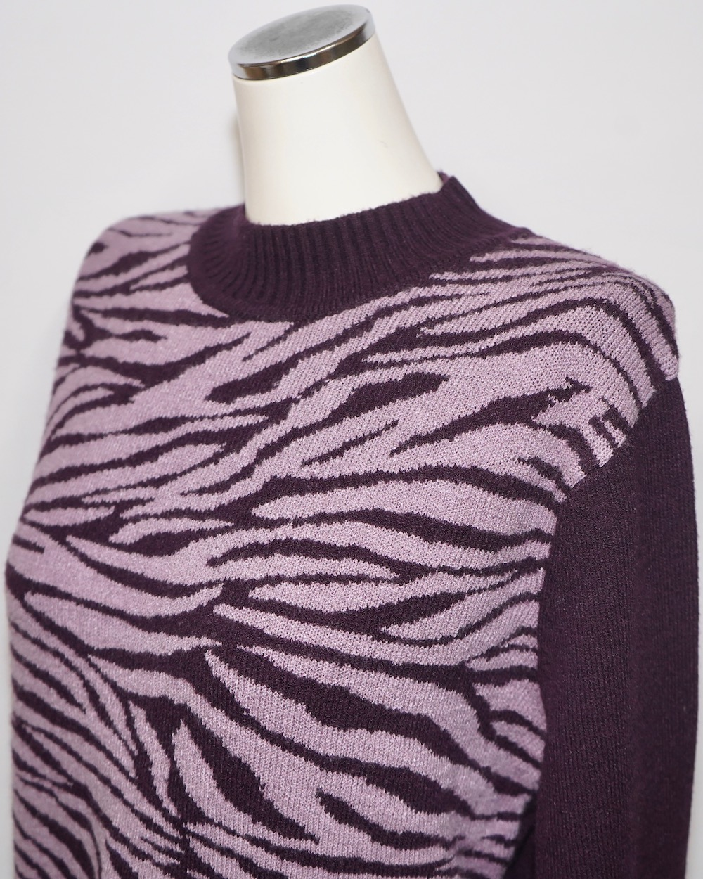 Zebra Pattern Mock Neck Knit Sweater (dark purple)