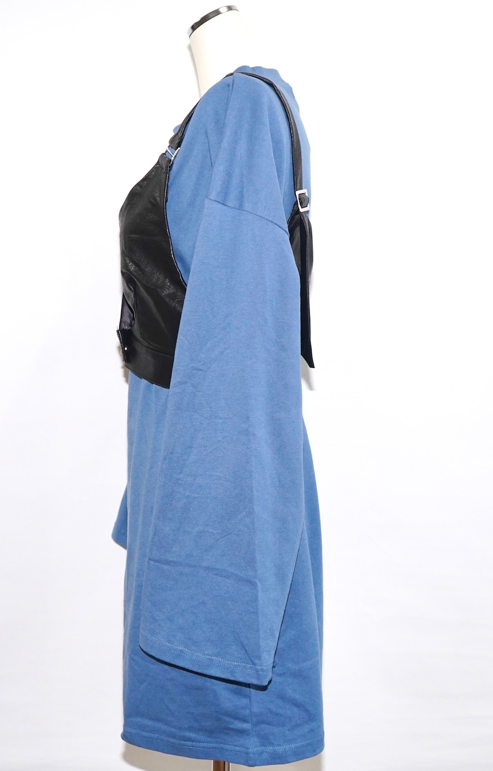 Leather Touch Bustier + T-shirts Onepiece 2P SET (blue)