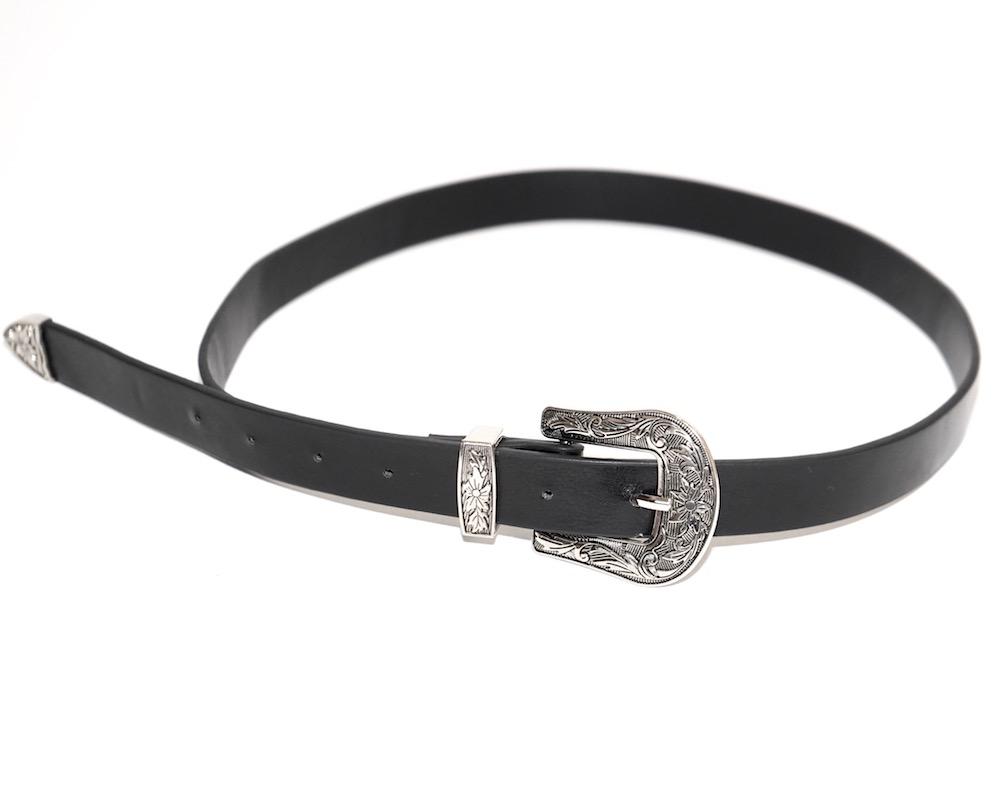 Silver Emboss Buckle Belt (black)