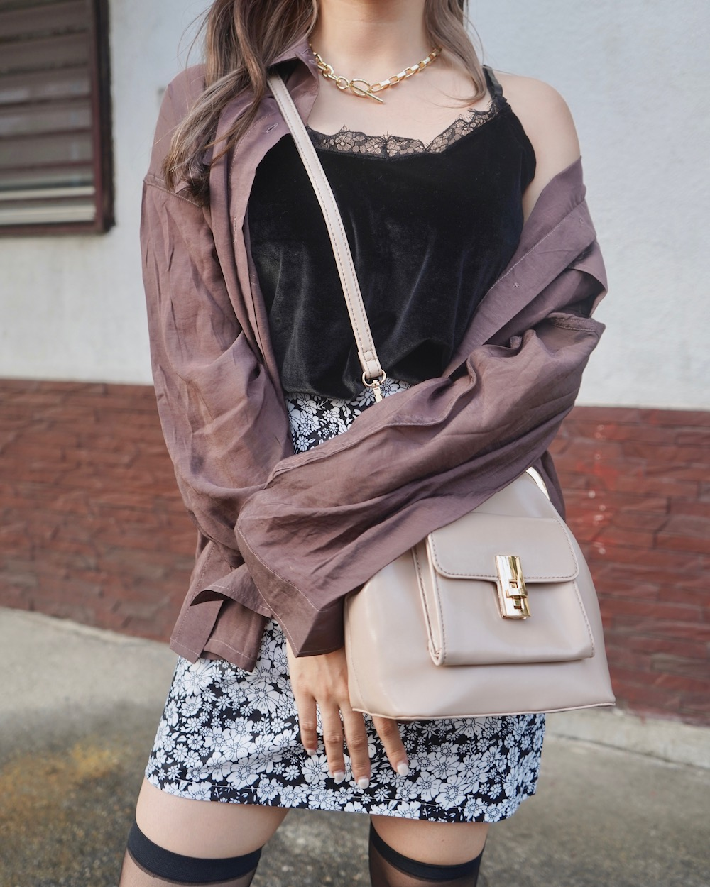 Oversized Sheer CPO Shirts (brown)