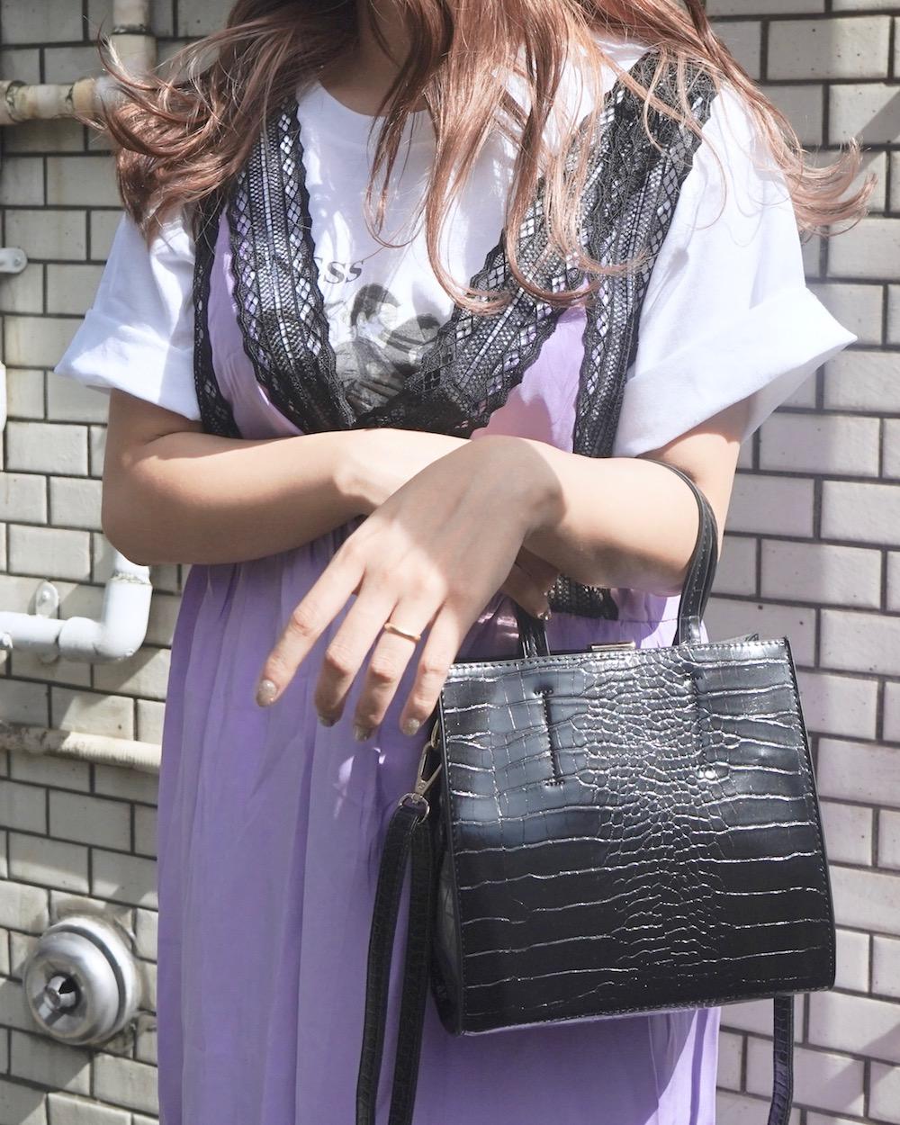 Lace Trim Flare Long Jumper Skirt (light purple)