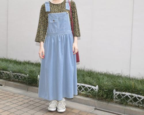 ポケットデニムオーバーオールスカート(L.BLU)