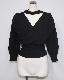 Choker Design Puffsleeve Knit Sweater (black)
