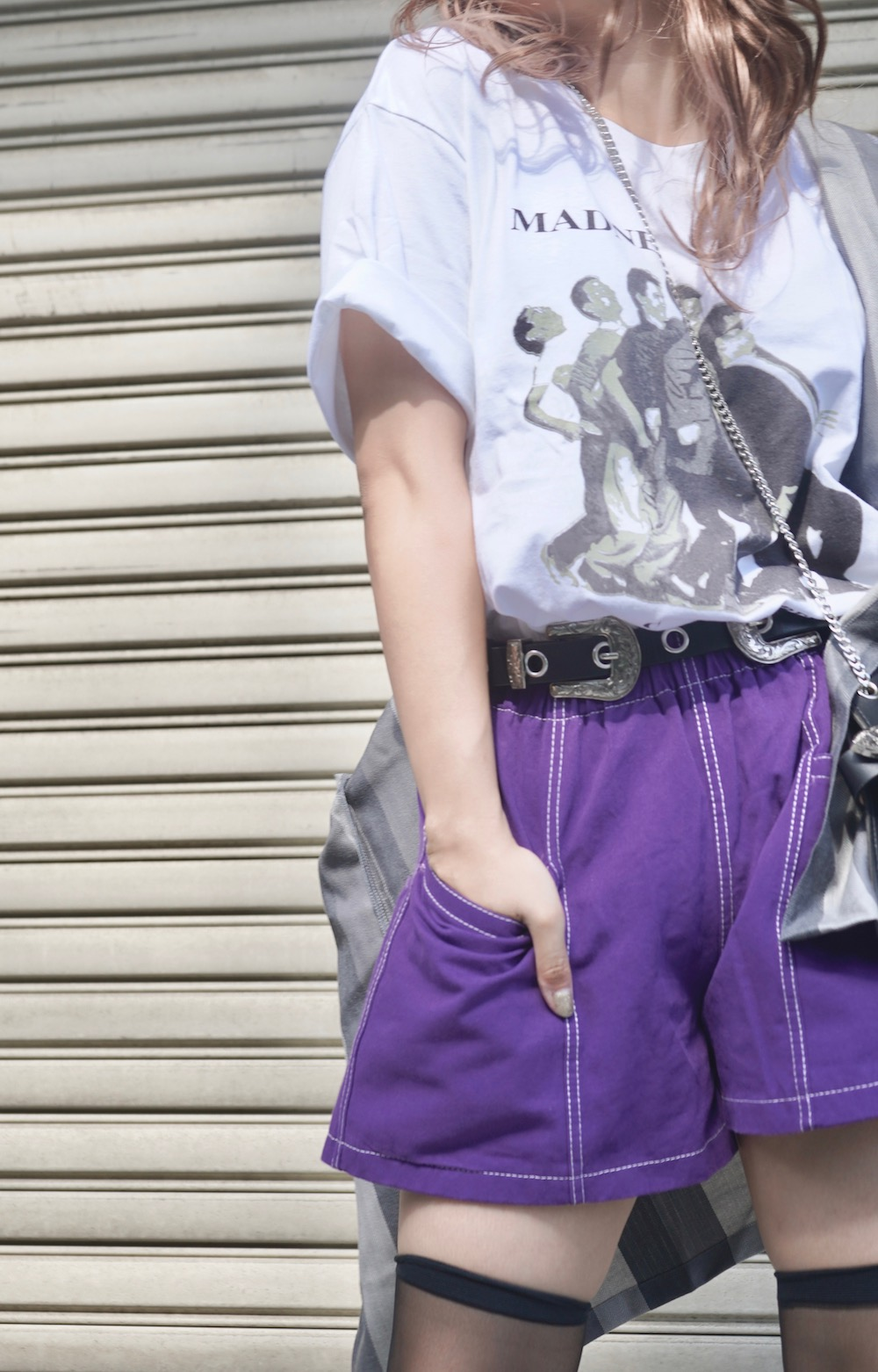 White Stitch A-Line Short Pants (purple)