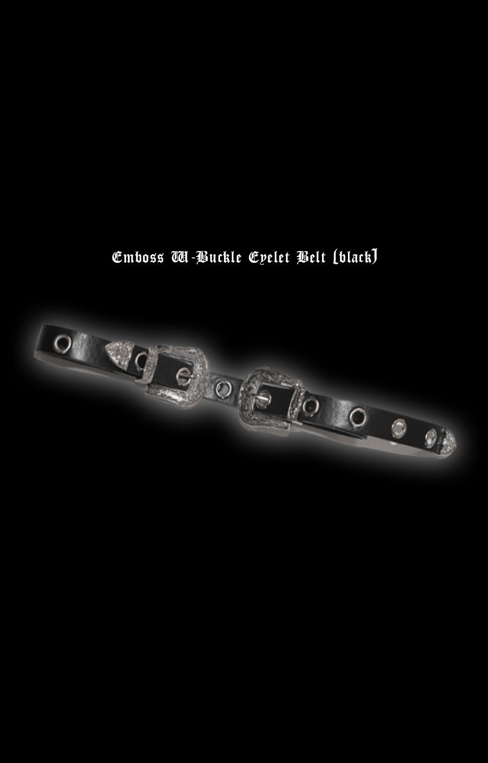 Emboss W-Buckle Eyelet Belt (black)
