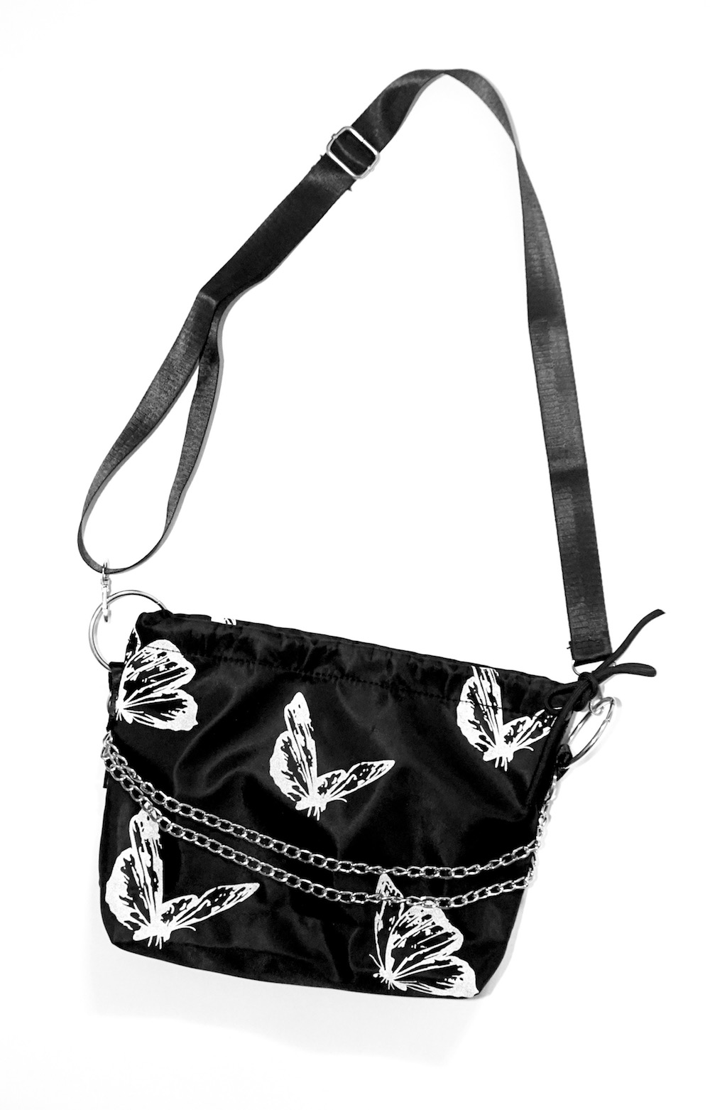 Silver Chain Butterfly Nylon Bag