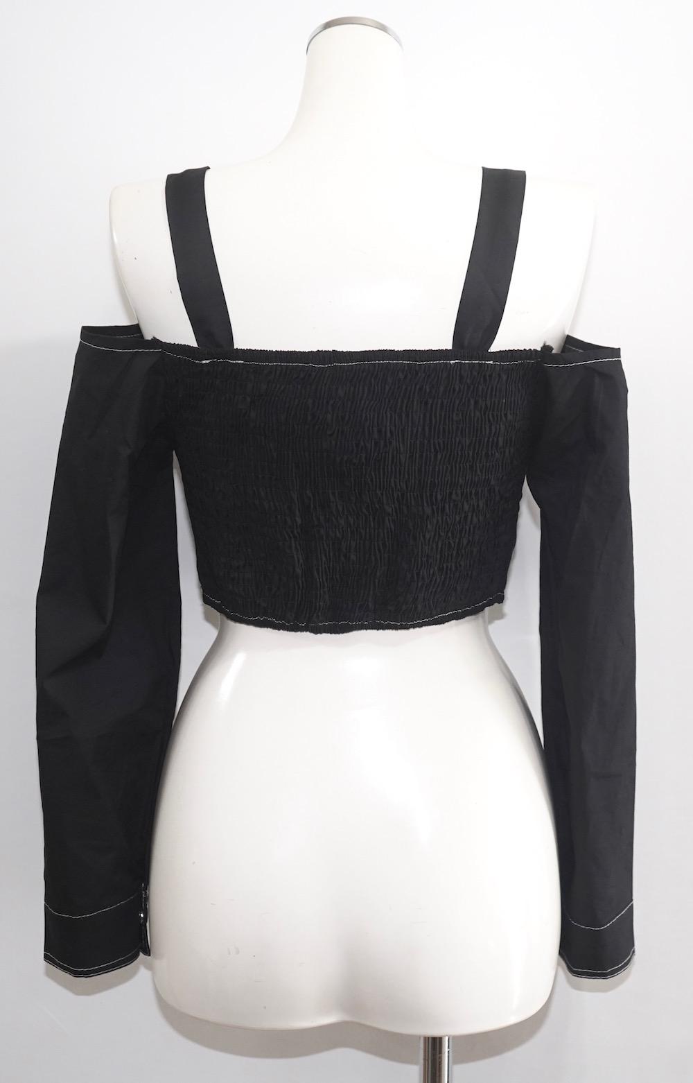 Ring Strap White Stitch Tops (black)