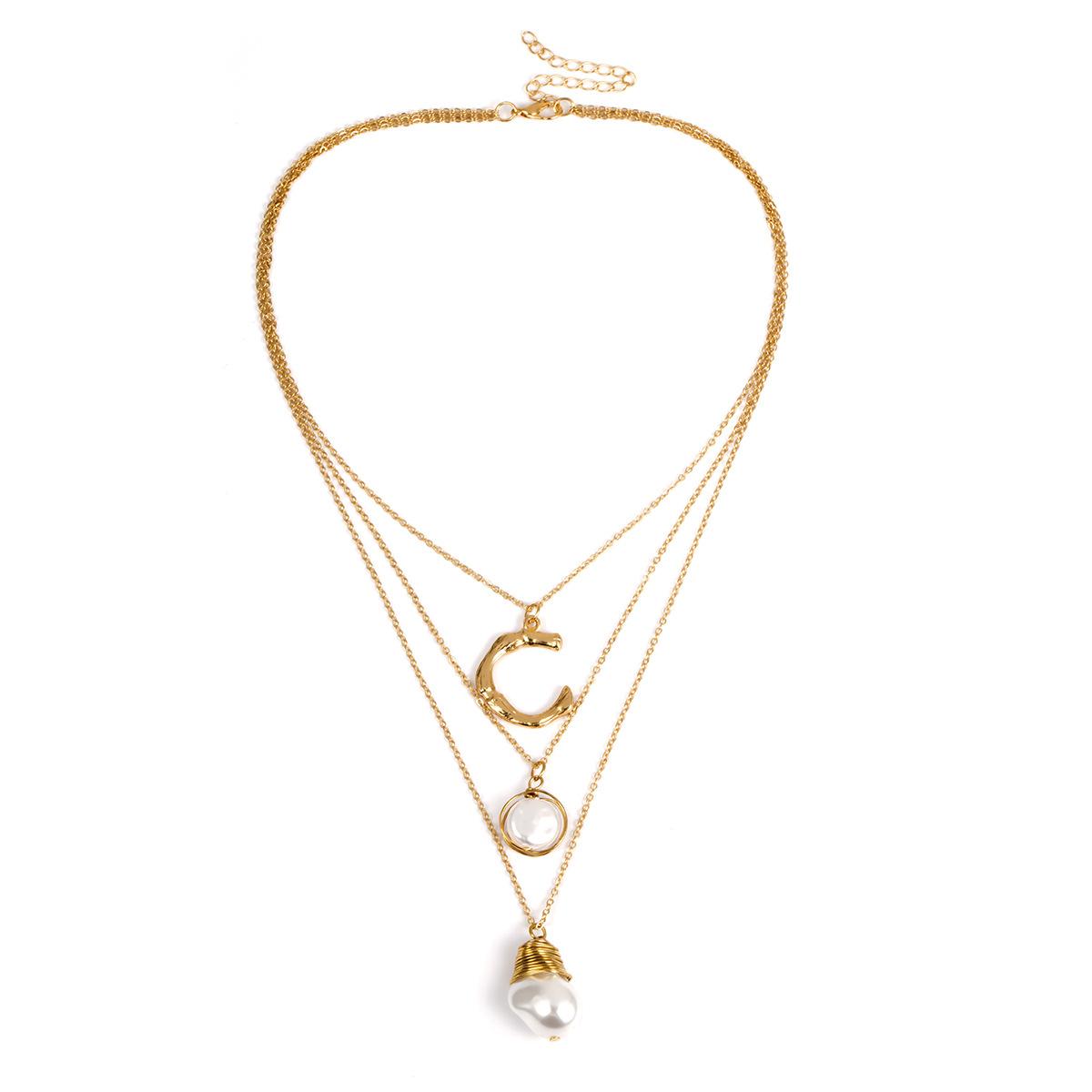 Pearl Motif Triplicate Necklace (gold)