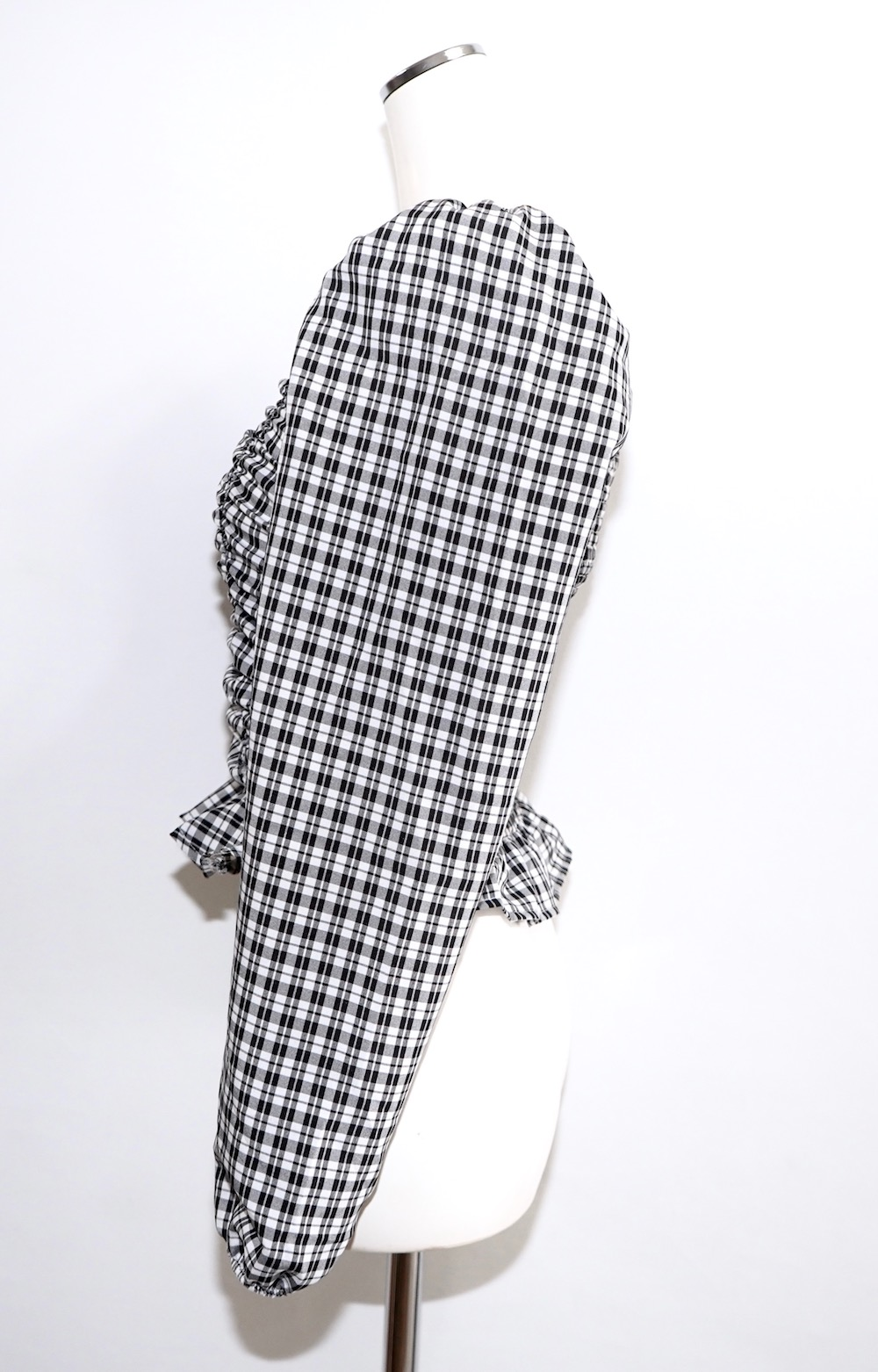 Monotone Check Shirring Puff Tops
