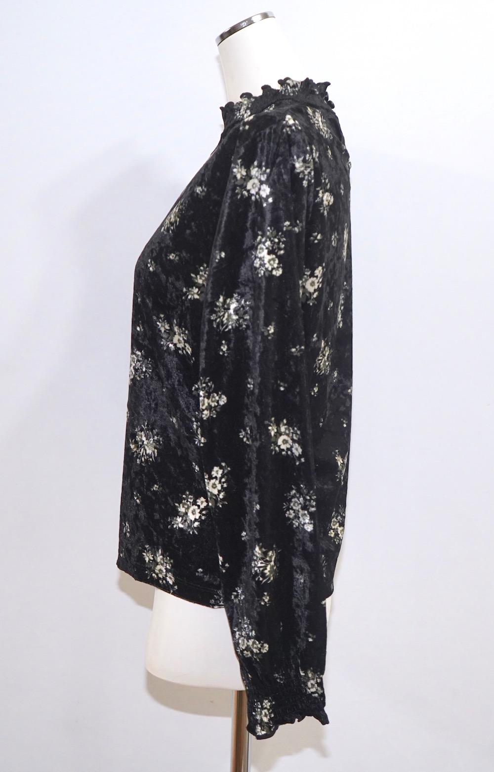 Flower Bouquet Velvet Blouse(black)