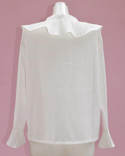 RIBBON-TIE COLLAR BLOUSE(WHT)
