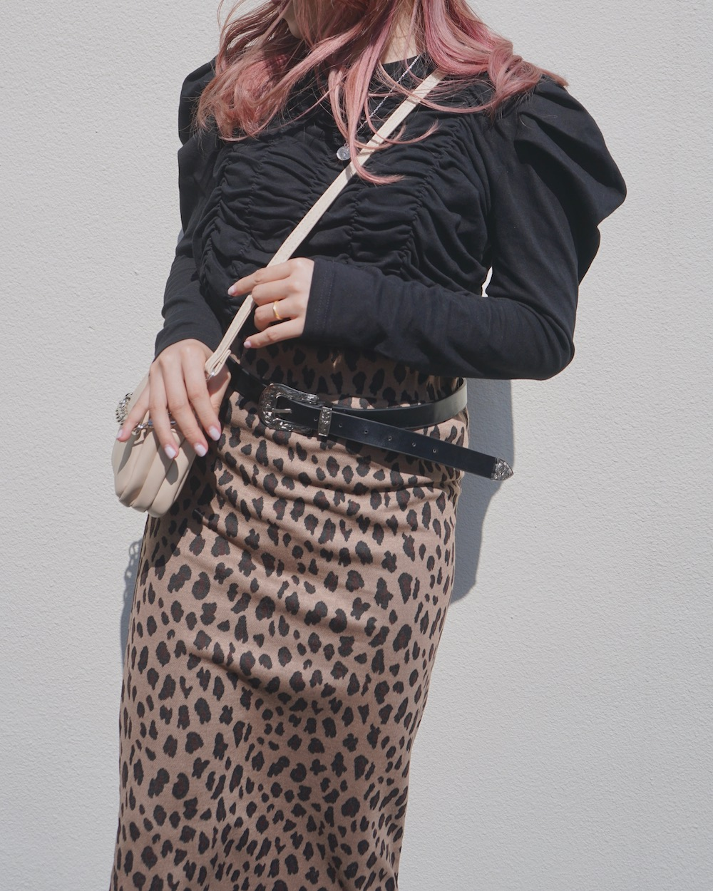 Leopard Stretch H-Line Long Skirt (brown)