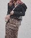 Leopard Stretch H-Line Long Skirt (brown)