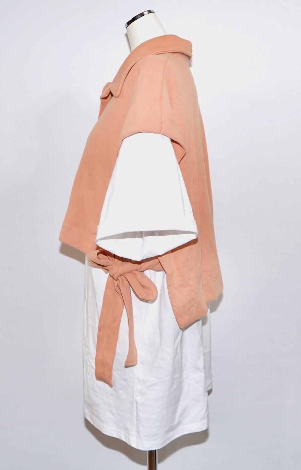 Side Ribbon Vest+T-shirts Onepiece 2P SET (sherbet orange)