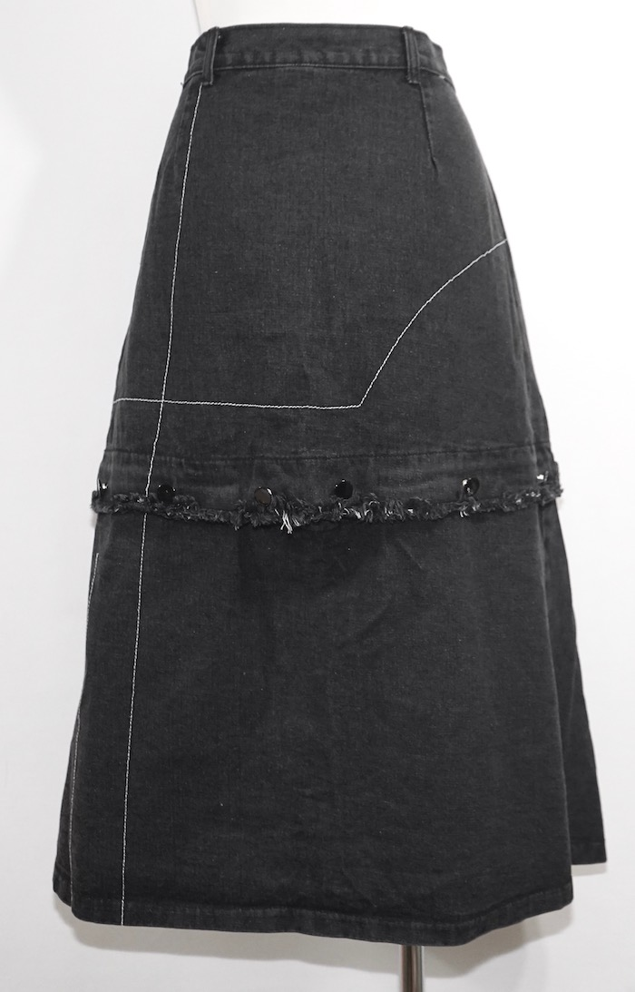 2way Switching Black Denim Skirt