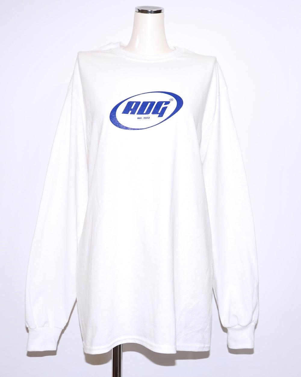 ADG OVAL LOGO BIG L/S TEE (white-blue logo)