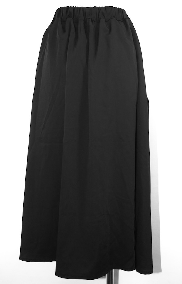 Slit Design Belted Flare Long Skirt (black)