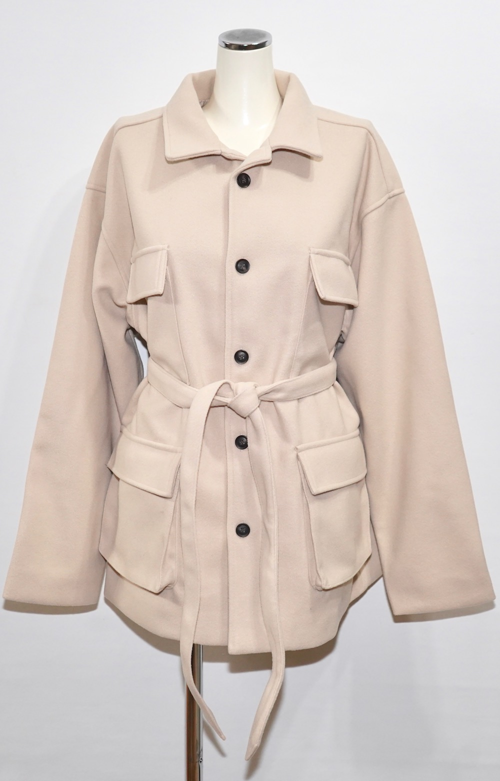 Wool Touch Oversized BDU Jacket (ivory)