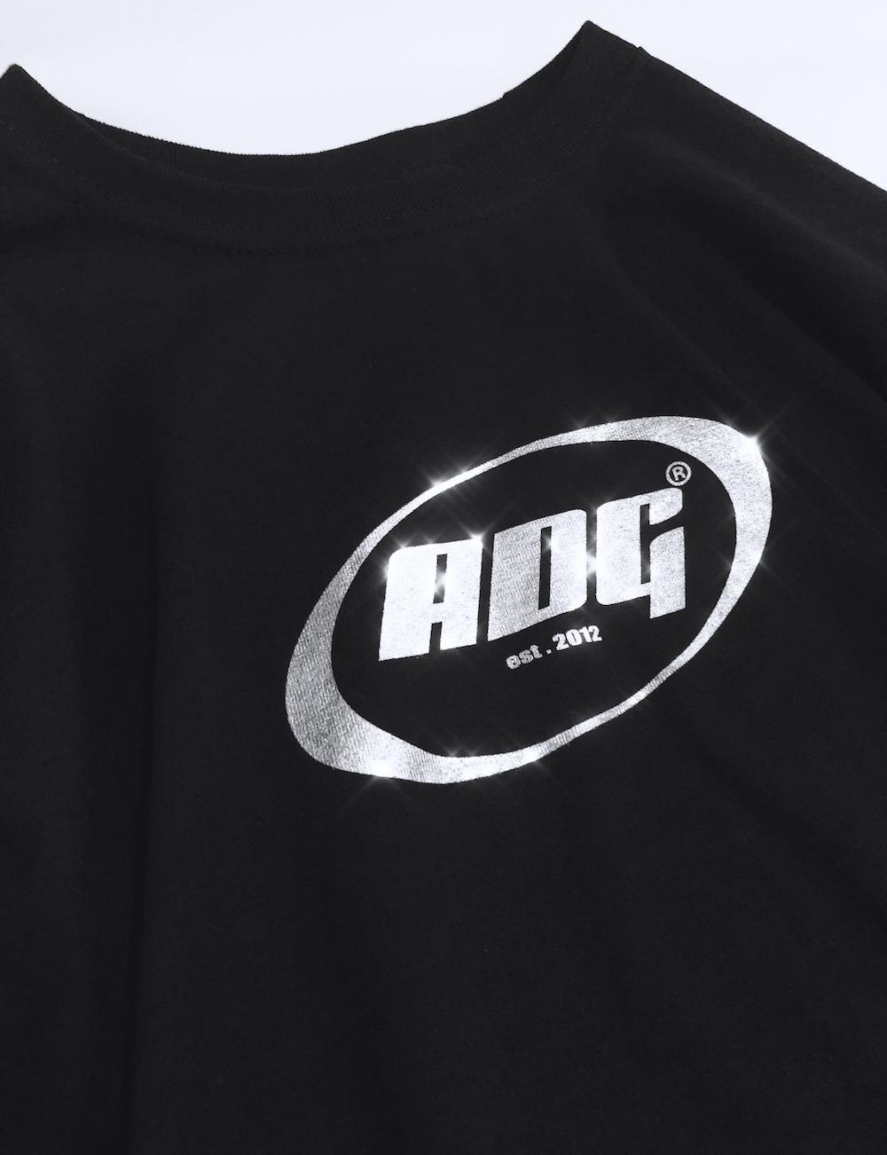 ADG OVAL LOGO BIG L/S TEE (black-silver logo)