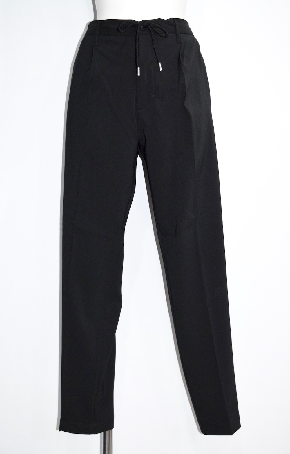 Black Nylon Tapered Easy Pants