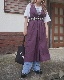Side Ribbon Flare Long Jumper Skirt (purple)