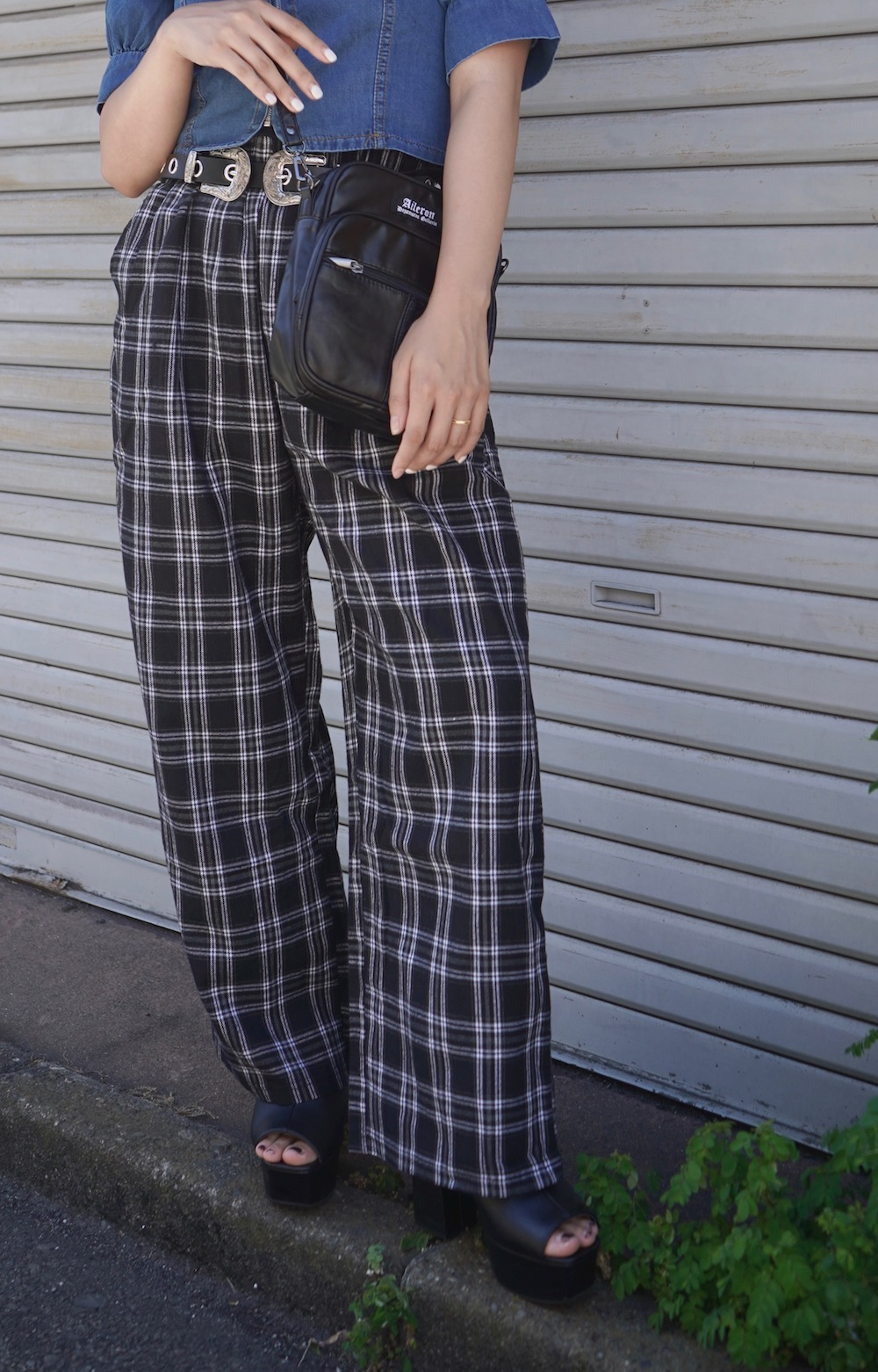Monotone Check Wide Pants (black)