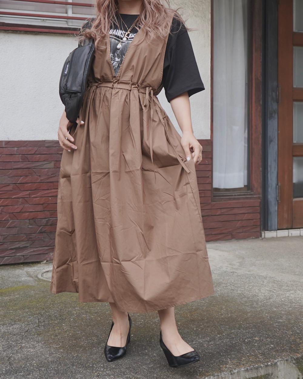 Side Ribbon Flare Long Jumper Skirt (brown)