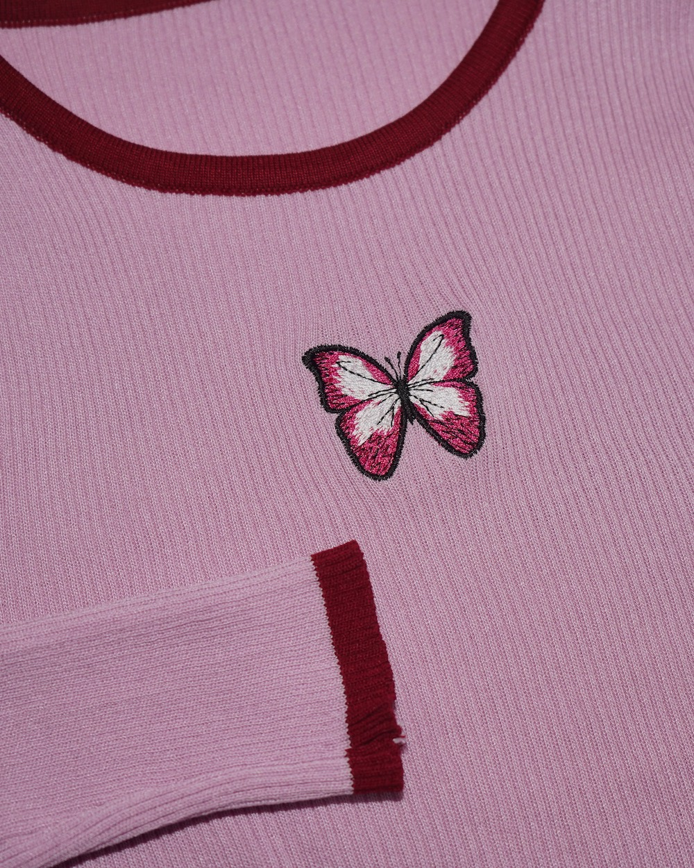 Butterfly Embroidery Rib Knit Tops (pink)