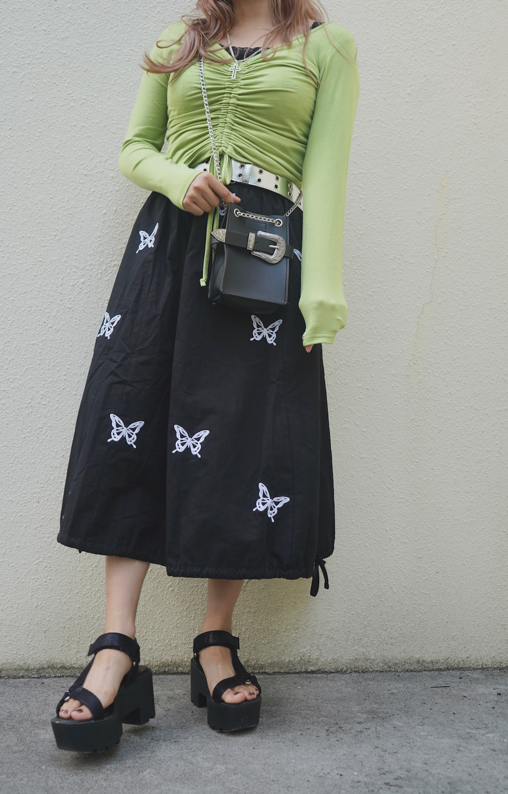 Butterfly Embroidery Flare Long Skirt (black)