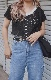Lace Trim Mellow Rib Tops (black)