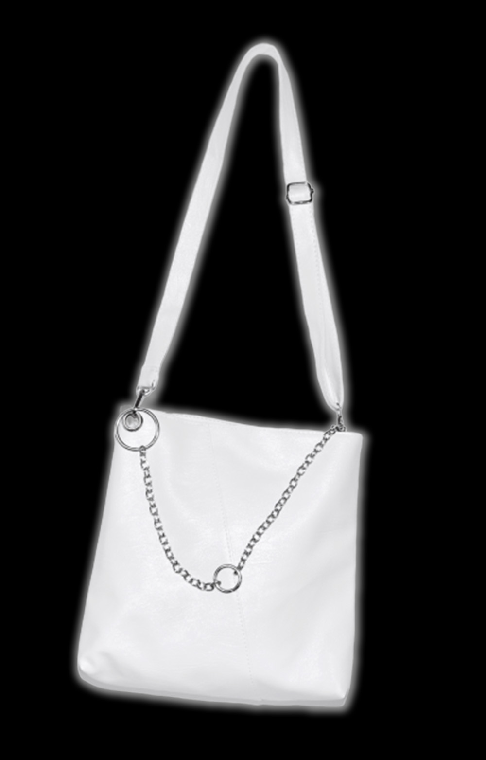 Chain Design Leather Touch Bag (white)