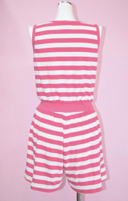 【WEB限定】ピンクのボーダーロンパース
