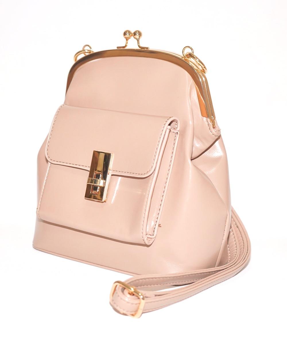 Purse Frame Pocket Shoulder Bag (beige)