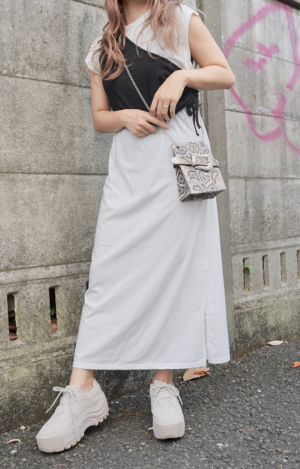 One Shoulder Bustier+Maxi T-shirts Onepiece 2P SET