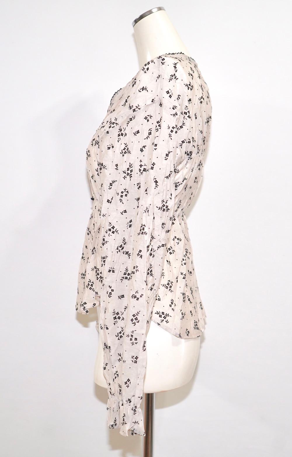 Monotone Flower Sheer Tops (white)