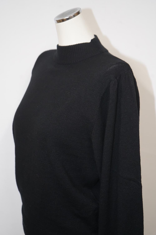 Basic Balloon Sleeve High-neck Knit (black)