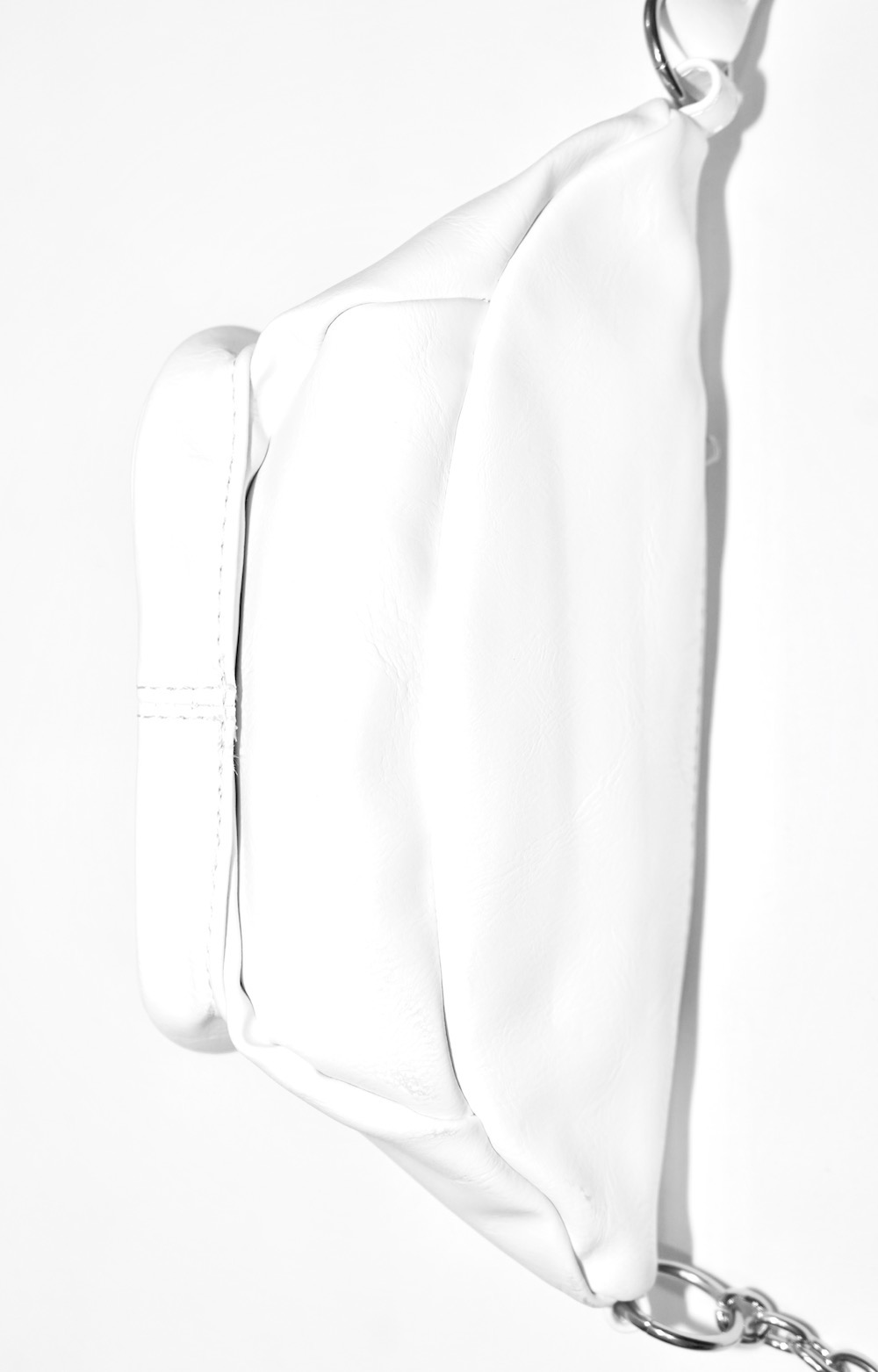 Silver Chain Leather Touch Waist Bag (white)