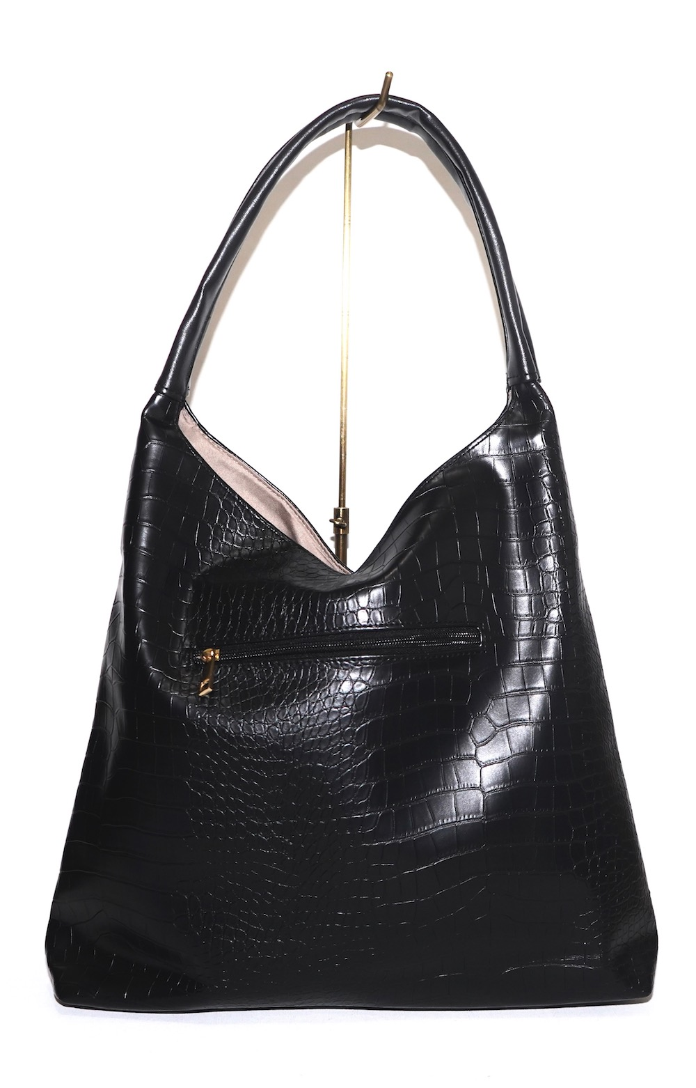 Croco-Touch Leather Big Tote Bag (black)