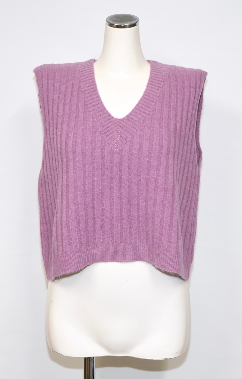 Back Ribbon Knit Vest (lavender)
