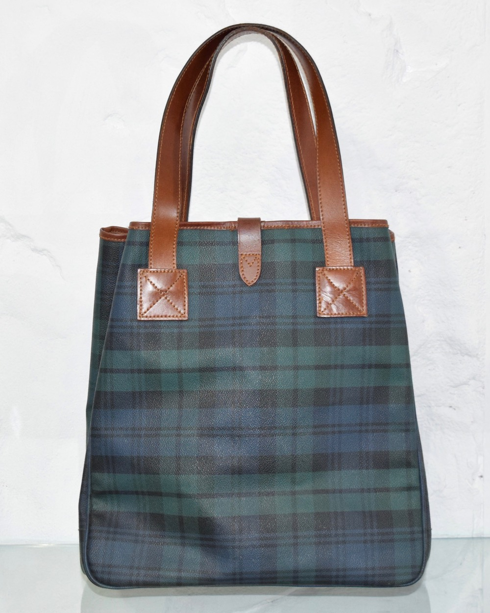 """""""Ralph Lauren"""" CHECK LEATHER TOTE BAG(green)"""