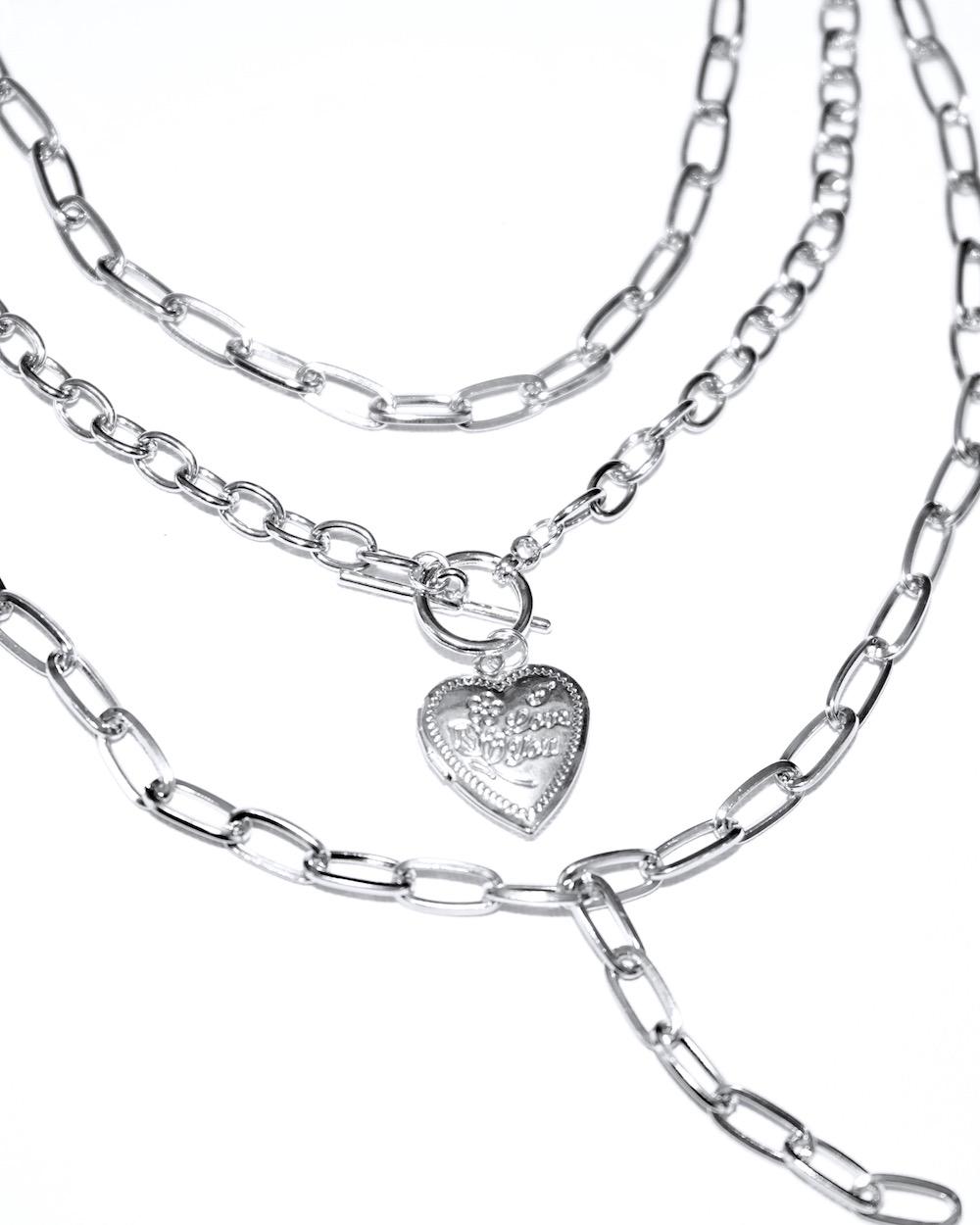 Heart Locket Triplicate Silver Chain Necklace