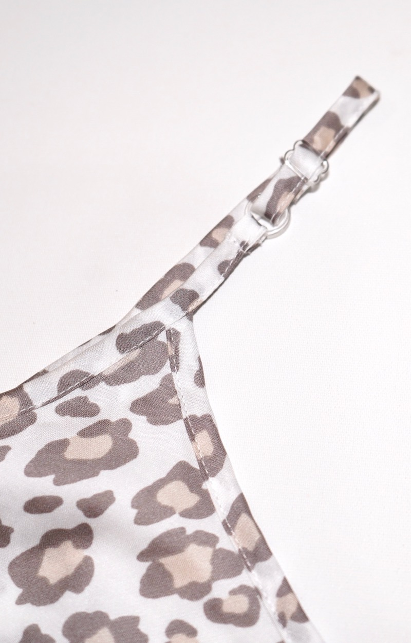 Leopard Frill Hem Cami-Oneiece (white-beige)